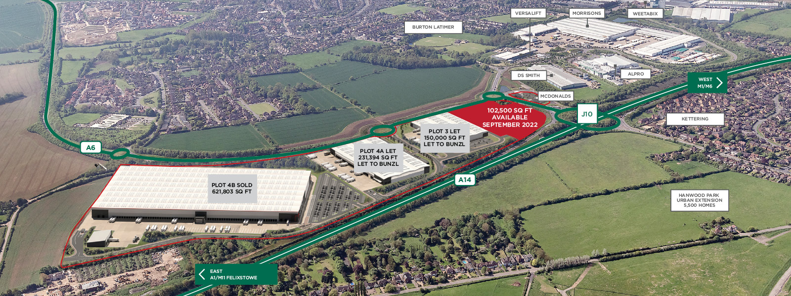 Aerial Overview Segro Park Kettering Gateway